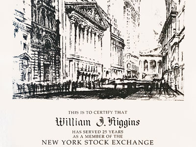 Bill Higgins: Certificate 25 years as a Member of The New York Stock Exchange